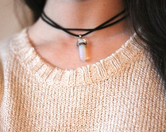 Crystal Necklace - Crystal Choker Necklace - Double Wrapped Choker - Healing Crystals and Stones - Crystals - Boho Choker Necklace