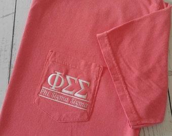 Sorority Shirts, Phi Sigma Sigma, Sorority T Shirt, Big Little Shirt, Greek Letter, Pocket T Shirt, Monogrammed Pocket, Personalized Shirt