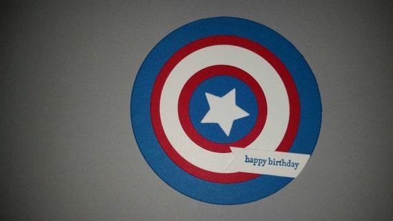 Captain america shield birthday card captain america birthday bookmarktalkfo Images