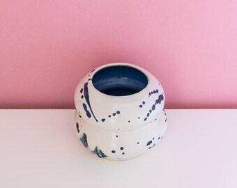Handmade Blue Splatter Bud Vase