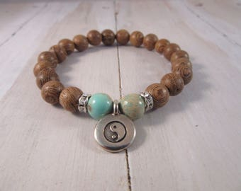 Beaded Stretch Bracelet with Aqua Jasper and Sandlewood, Silver Yin-Yang Charm, Stack Bracelet, Boho, Bohemian Bracelet, Gift for Her