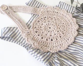 Made to order - Crochet Cotton Round Vintage Bib
