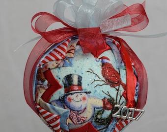 Playful Snowmen Christmas Ornament, Snowman Decoration, Snowman Ornament, Holiday Ornament