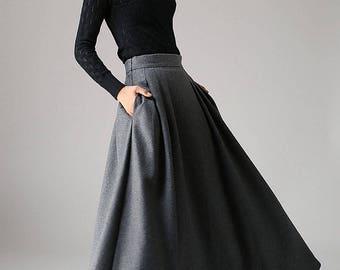 Wool skirt, a line skirt, gray wool skirt, winter skirt, long skirt, pleated skirt, pocket skirt, high waisted skirt, fitted skirt (1091)