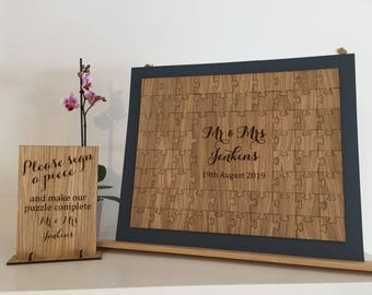 Puzzle Guest Book, Wooden Puzzle Guest Book, Wedding Guest Book