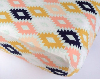 Fitted Baby Sheets - Aztec Changing Pad Cover/ Tribal Crib Sheet / Aztec Crib Sheet / Navy Coral Mint Nursery /Bloom Alma Mini Bedding Set