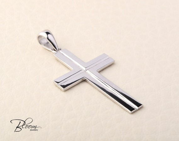 White gold cross necklace 14k solid gold cross pendant mens like this item aloadofball Image collections