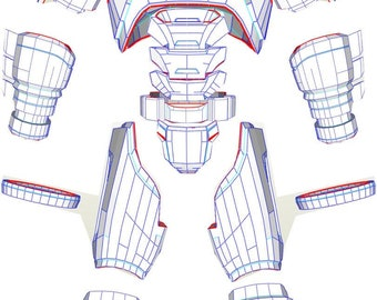 EVA Foam Batman wearable mech armor suit PDF, PDO templates for pepakura