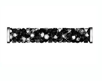 Swarovski 5950 Fine Rocks Tube -  Jet & Crystal Metallic Silver