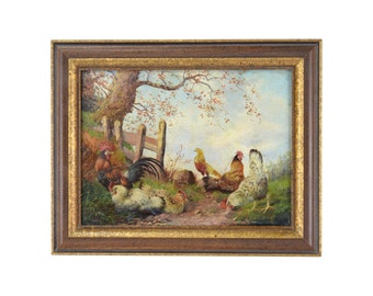 Circa 1900 Danish Oil Painting Exotic Chickens Roosters signed Karstensen