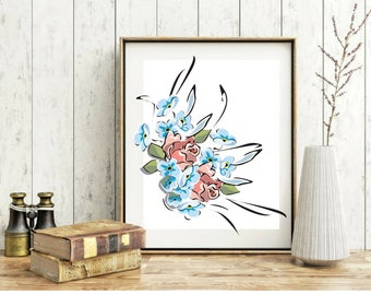 Bouquet print Kind room decor Printable wall art Blue Floral decor Floral nursery decor  Wall art prints Kitchen decor Bedroom Wall Art