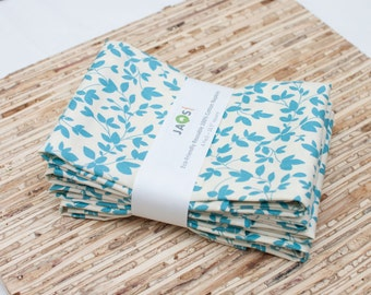 SALE - Large Cloth Napkins - Set of 4 - (N1427) - Leaves Aqua Modern Reusable Fabric Napkins