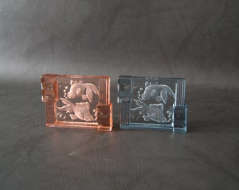 Ashtray Glass Art deco in Lalique style, pressed glass etched in red and blue with fish