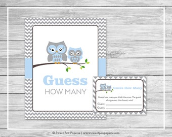 Owl Baby Shower Guess How Many Game - Printable Baby Shower Guess How Many Game - Blue Owl Baby Shower - Guess How Many - Owl Shower - SP135
