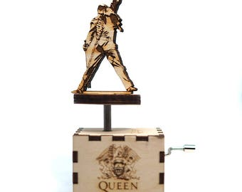 Queen Music Box - Crazy Little Thing Called Love - Laser cut and laser engraved wood music box. Perfect gift, memorabilia or collectible