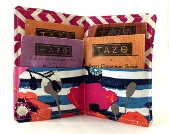 Tea Wallet Tea Bag Wallet Tea Bag Case Tea Bag Holder Tea Holder Tea Bag Cozy Tea Bag Organizer - Art Gallery Skopelos Paparounes in Crimson