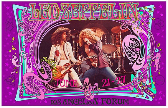 Led Zeppelin 1970s Concert Poster At Los Angeles Forum