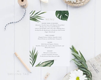 Printable Wedding Menu Printable - Modern Tropical Foliage Wedding Menu Download - Printable Menu PDF - Letter or A4 Size (Item code: P402)