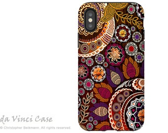 Autumn Paisley iPhone X Tough Case - Dual Layer Protection - Autumn Mehndi - Boho Fall Paisley iPhone 10 Case by Da Vinci Case