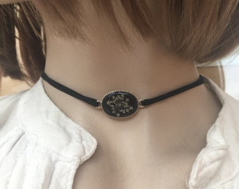Black thin Choker necklace, dainty chocker, black choker necklace, unique gifts for her, romantic necklace, nature jewelry, gothic necklace