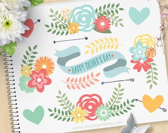 Mother's Day Flowers Clipart, Spring Flowers, Floral Clusters, ribbon, farmhouse flowers, Commercial Use, Vector clip art, SVG Cut Files