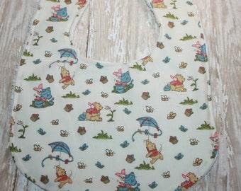 Winnie the Pooh Baby Bib-Gender neutral baby bib-baby bib-minky baby bib- personalized baby bib