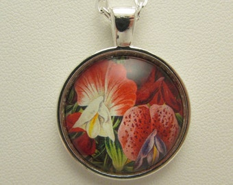 Exotic Flower Pendant, Glass Flower Necklace, Flower Jewelry, Glass Photo Pendant, Mother's Day Gift, Floral Jewelry, Floral Pendant