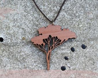 Wooden Tree Pendant, Tree Necklace, Myrtle Beech Pendant, Made in Australia