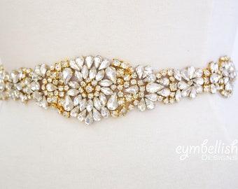 Gold Crystal Rhinestone Bridal Belt on Satin Sash -Bridal Sash- gold Rhinestone Belt- gold Wedding Accessories -gold bling sash- B048 G