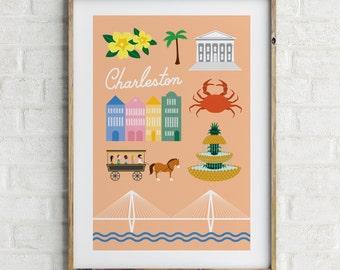Charleston Art Print Illustration Travel Poster South Carolina Modern Wall Art