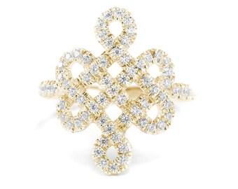 Tibetan endless love Knot Diamond Ring, 14K Gold Wedding Ring, 18K Gold Anniversary Ring, 0,5 Ct Diamond Ring, Wedding Jewelry