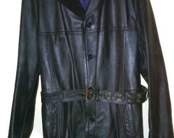 Vintage  Jacket Leather jacket Black Leather Coat  Leather Mac XL Black Jacket