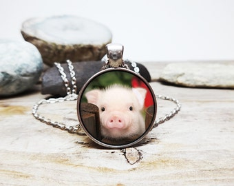 piglet necklace little piggy jewelry pig pendant  cute pig necklace animal art necklace hog Spirit animal gift sacred creature collection