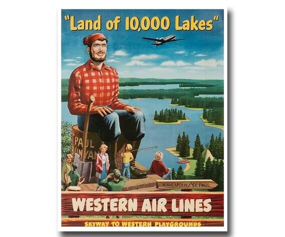 Minnesota Art Print Travel Poster Minneapolis St. Paul Vintage