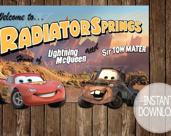 INSTANT DOWNLOAD! Radiator Springs Welcome Sign, Cars Birthday Welcome Sign