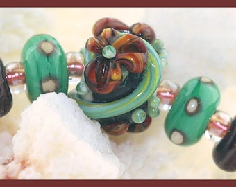 Autumn Garden...Handmade Complex Cane Floral Focal Bead with matching spacers, set of 5, SRA