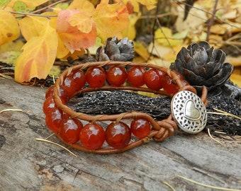 Bracelet Chan Luu style Boho Cornelian Gemstones Wrap Bracelet Lucky Bracelets