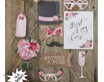 floral wedding photo booth props, Best Day Ever, bridal shower, rustic, flowers, top hat, glasses, champagne, photography, reception, fun