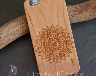 "Case for iphone 6 Plus, 6s Plus with cherry Wood edition, laser engraving ""Mandala"""