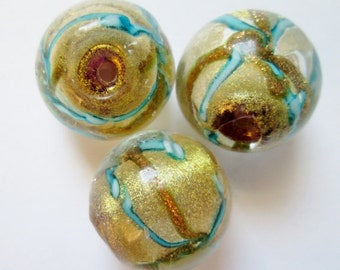 2 pcs Lampwork Glass Beads 16 mm, Focal Bead