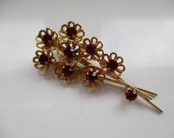 Gold Tone Flower Spray Brooch with Sparkly Red Rhinestones, Floral Spray, Floral Pin, Flower Spray, Costume Jewellery, Costume Jewelry,