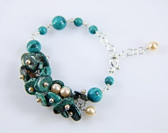 Turquoise and AAA slightly pink pearl cluster bracelet,natural gemstones