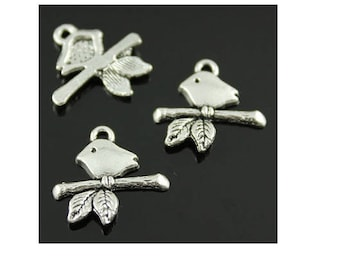 set of 10 charms Bird on branch Silver (17)