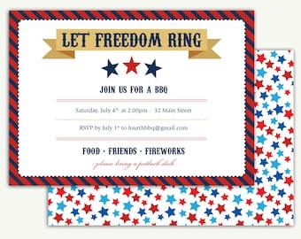 Fourth of July BBQ Invitation - DEPOSIT