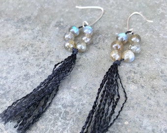 labradorite, silk & sterling silver earrings. recycled italian silver.