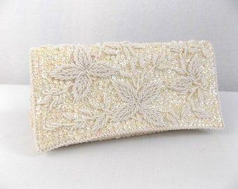 Vintage White Ivory Sequin Beaded Clutch Handbag
