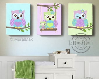 Green And Purple Owl Nursery Girl Room Decor   OWL Canvas Art, Baby Nursery  Owl
