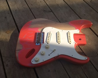 Heavy Relic Vintage Ruby Red STrat Guitar body fits OEM 2 3/16th pocket Nitrocellouse light finish off your custom fender project
