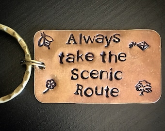 Inspirational Words Key Chain. Always take the Scenic Route. New Driver Gift. Graduation. Sweet 16. Words of Wisdom. Be Present.