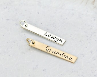"Vertical personalized bar charm • Personalized name charm • Custom Name Charm 1.20"" name charm • Bar charm • Sterling silver or Gold filled"